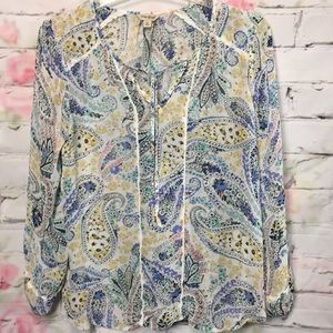Lucky brand share paisley print blouse siz…